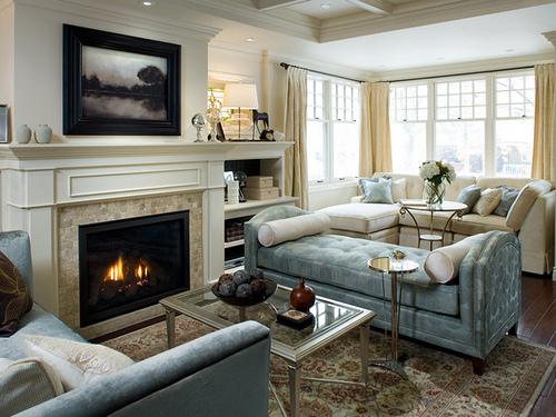 Дизайн комнаты с камином: стили, окружающая мебель