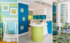 Сочетание зеленого с синим и голубым