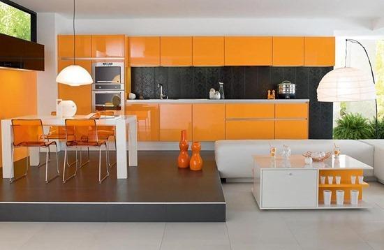 Оранжевые кухни – там живет солнце