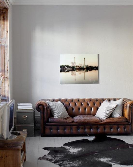 Кожаные диваны в дизайне интерьера