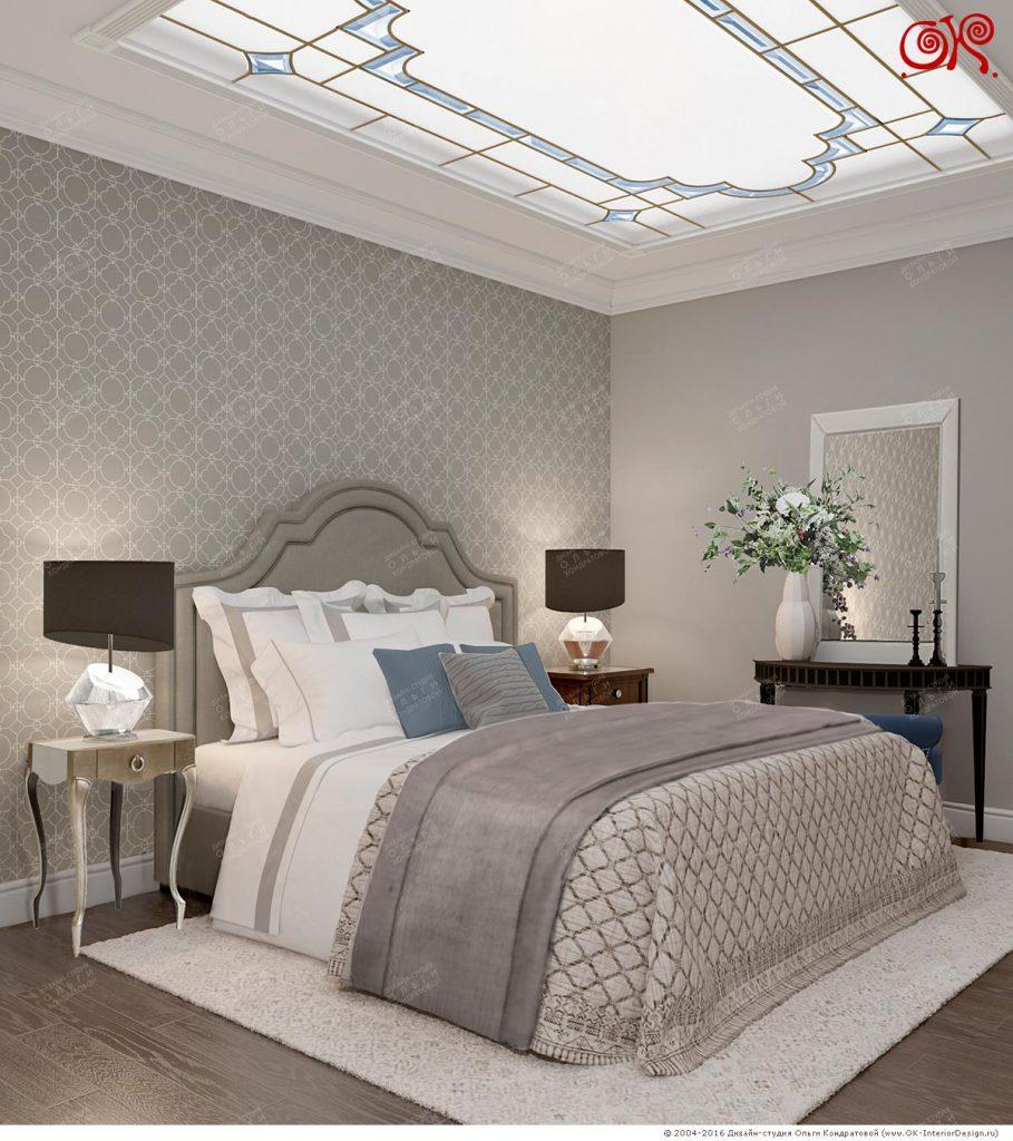 Дизайн спальни со  светодиодной панелью
