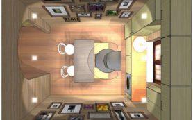 Дизайн кухни острова со столом-трансформером