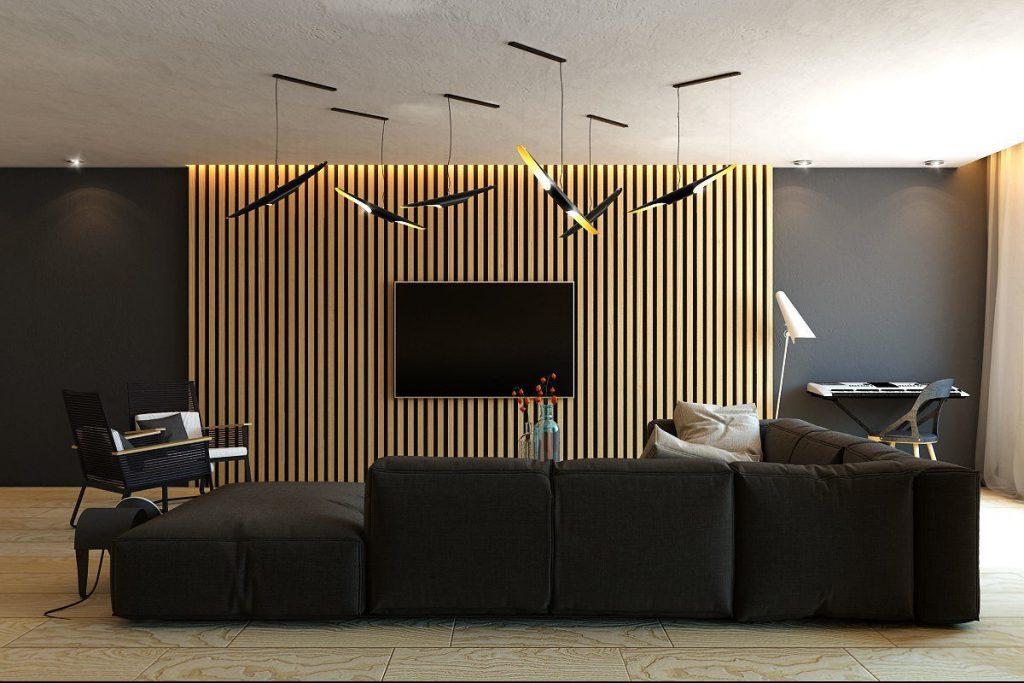 Деревянные рейки на стенах