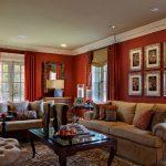 Шикарный красный цвет в интерьере гостиной