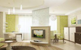 Гостиная-студия, зонирование интерьера гостиной