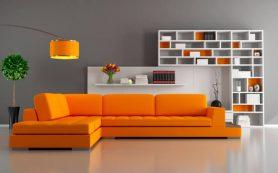 Дизайн современной гостиной комнаты в серо-оранжевом цвете