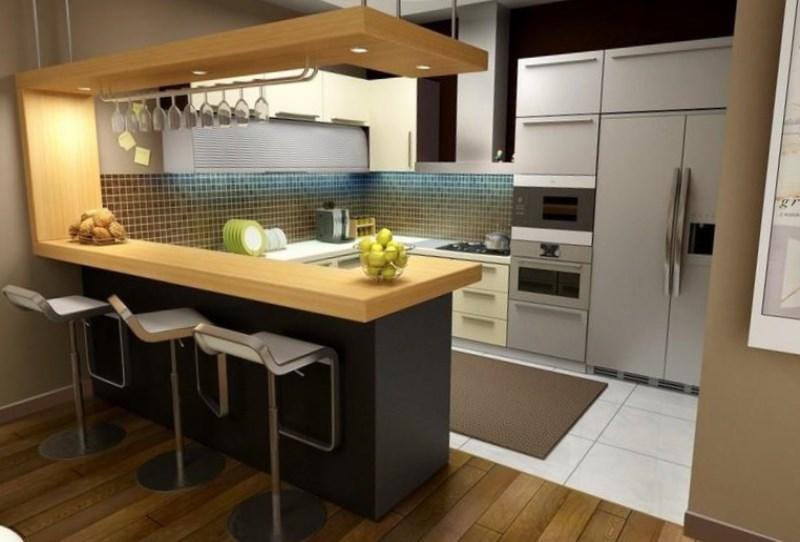Функциональный дизайн кухни гостиной с барной стойкой
