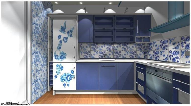Кухня с росписью гжель. Дизайн кухни с конструкцией из гипсокартона