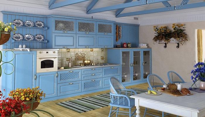 Оформляем интерьер голубой кухни