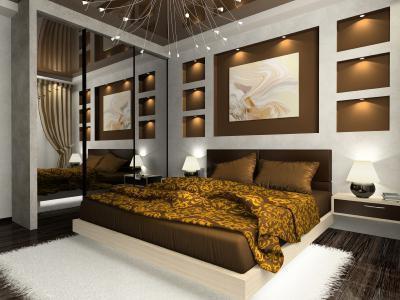 Эксклюзивный и необычный интерьер маленькой спальни