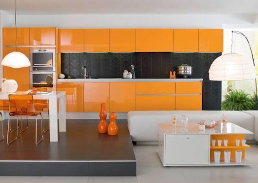 Яркий оранжевый цвет в дизайне интерьера