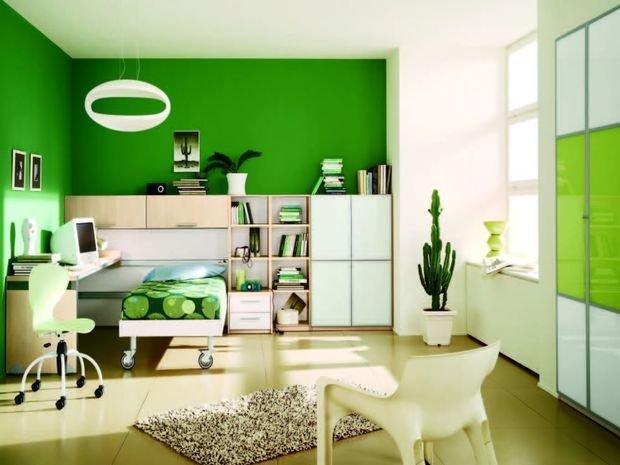 Зеленая декорация интерьера