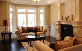 Интерьер гостиной в коричневых тонах