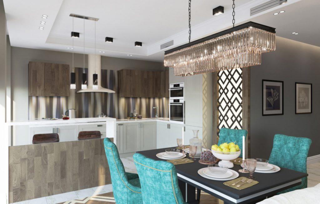 Интерьер трёхкомнатной квартиры необычной формы со скруглённой стеной