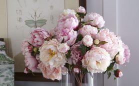 Розовые пионы в интерьере