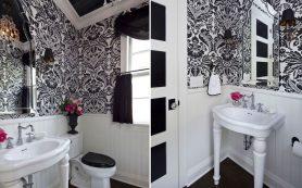 Ванная комната в черно-белых тонах