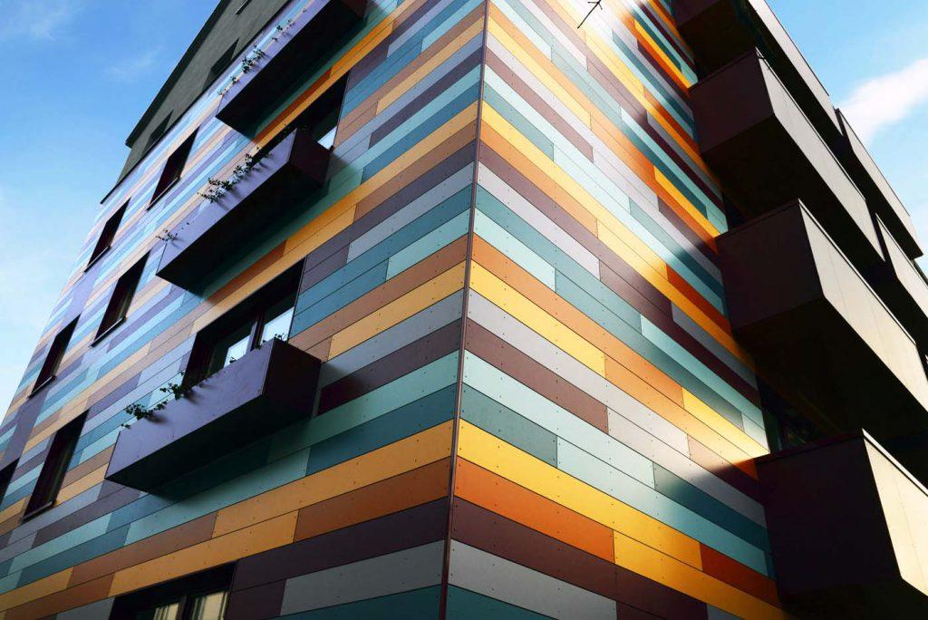 Современный фасад из алюминиевых композитных панелей