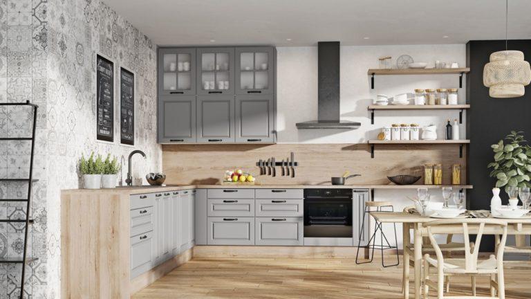 Модная кухня — открытые полки на высоте
