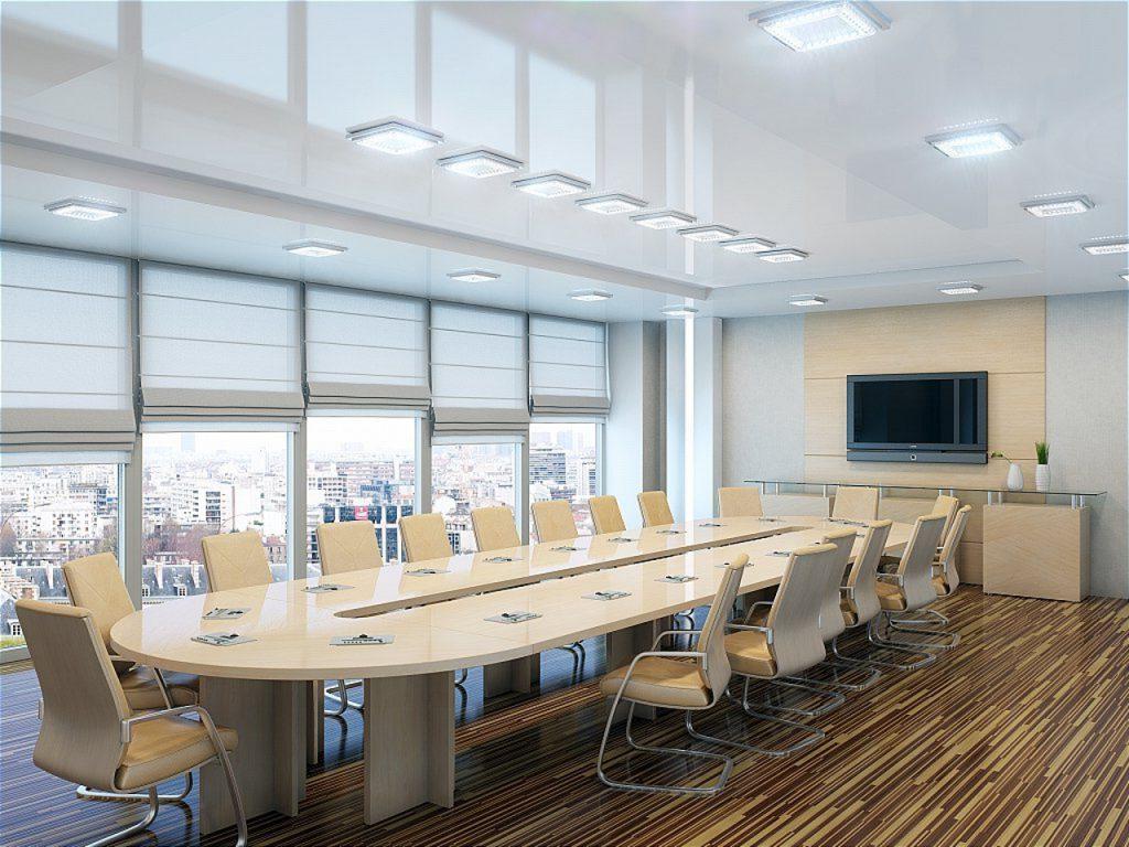 Натяжные потолки в офисном помещении