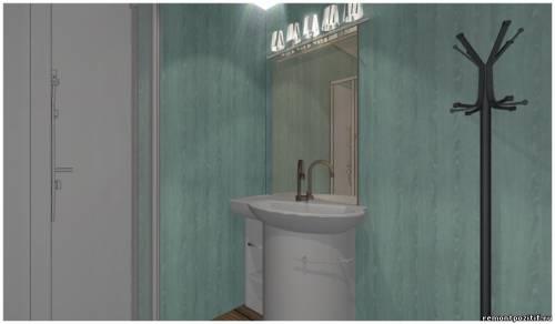Дизайн ванной комнаты с душевой кабинкой в прохладных тонах